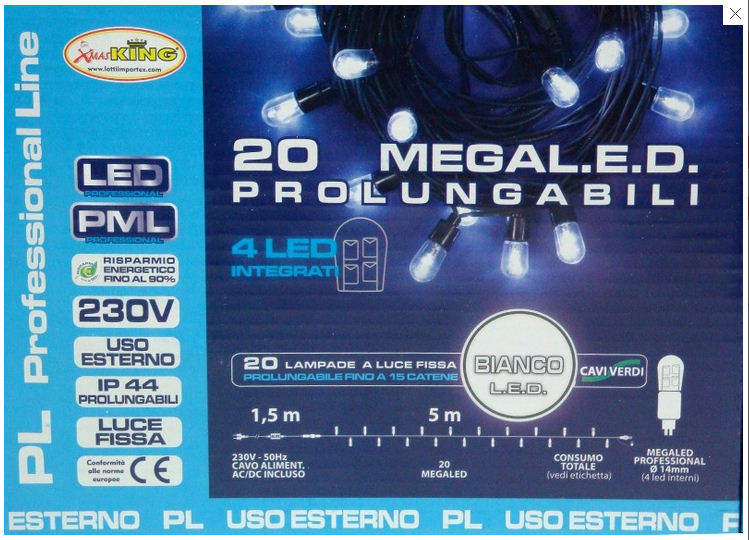 CATEN LUMINARIA 20 LUCI LED PROLUNGABILE LUCE BIANCA